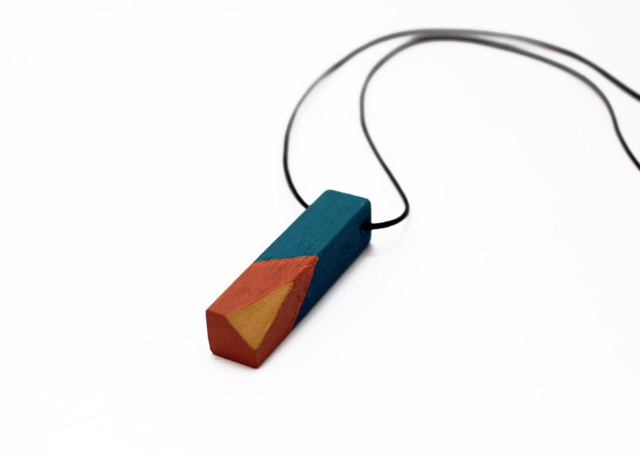 Geometric wooden necklace - mustard yellow, chocolate brown, petrol blue - minimalist, modern jewelry - color blocking - TheiaDesign