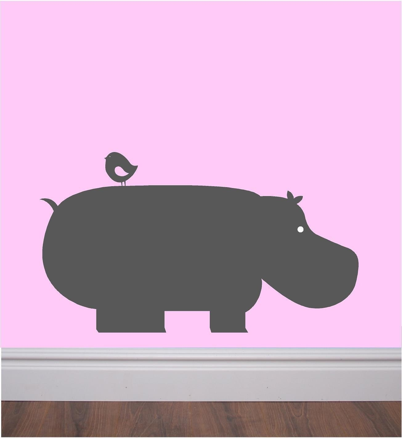 Vinyl wall decal - cute hippo with bird on back - great for nursery, play room