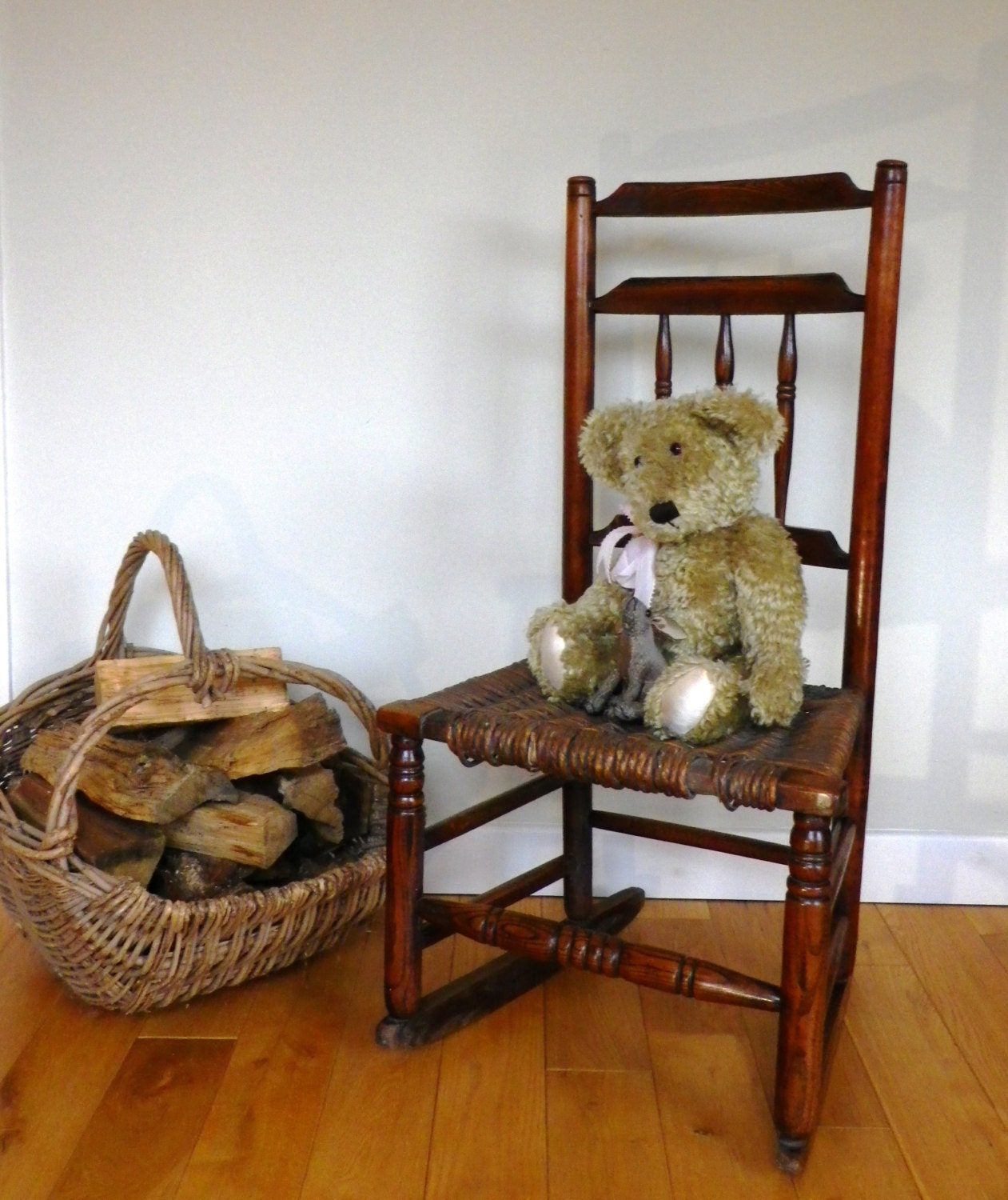 Rocking chair early 19th century oak and elm country rocking chair with wicker seat antique rocking chair