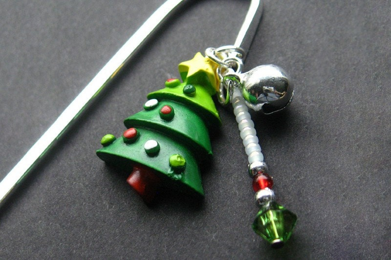 HOLIDAY SALE Beaded Book Charm, Christmas Tree Bookmark