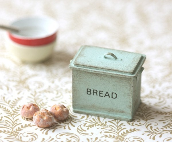 Dollhouse Accessories- Shabby Chic Mint Green Bread Box