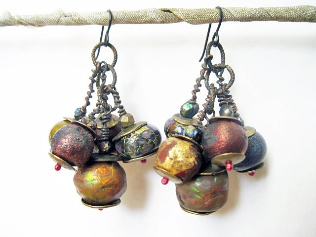 In Your Light. Rustic Cosmic Iridescent Earrings.