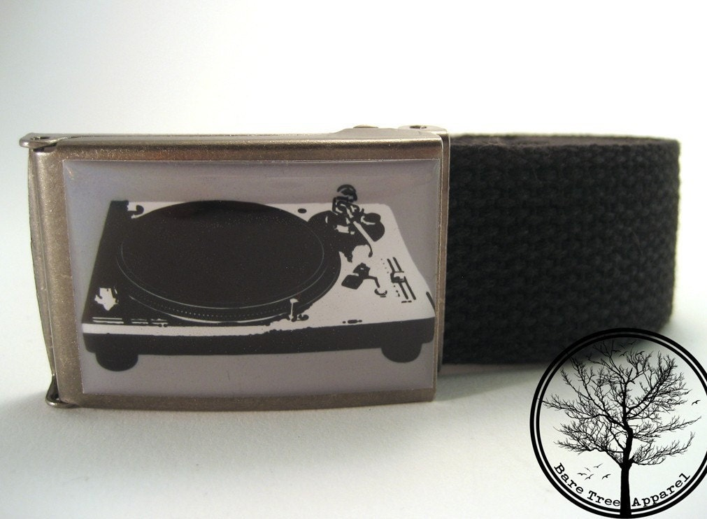 Black and white turntable record player on antiqued steel buckle with Black web Belt