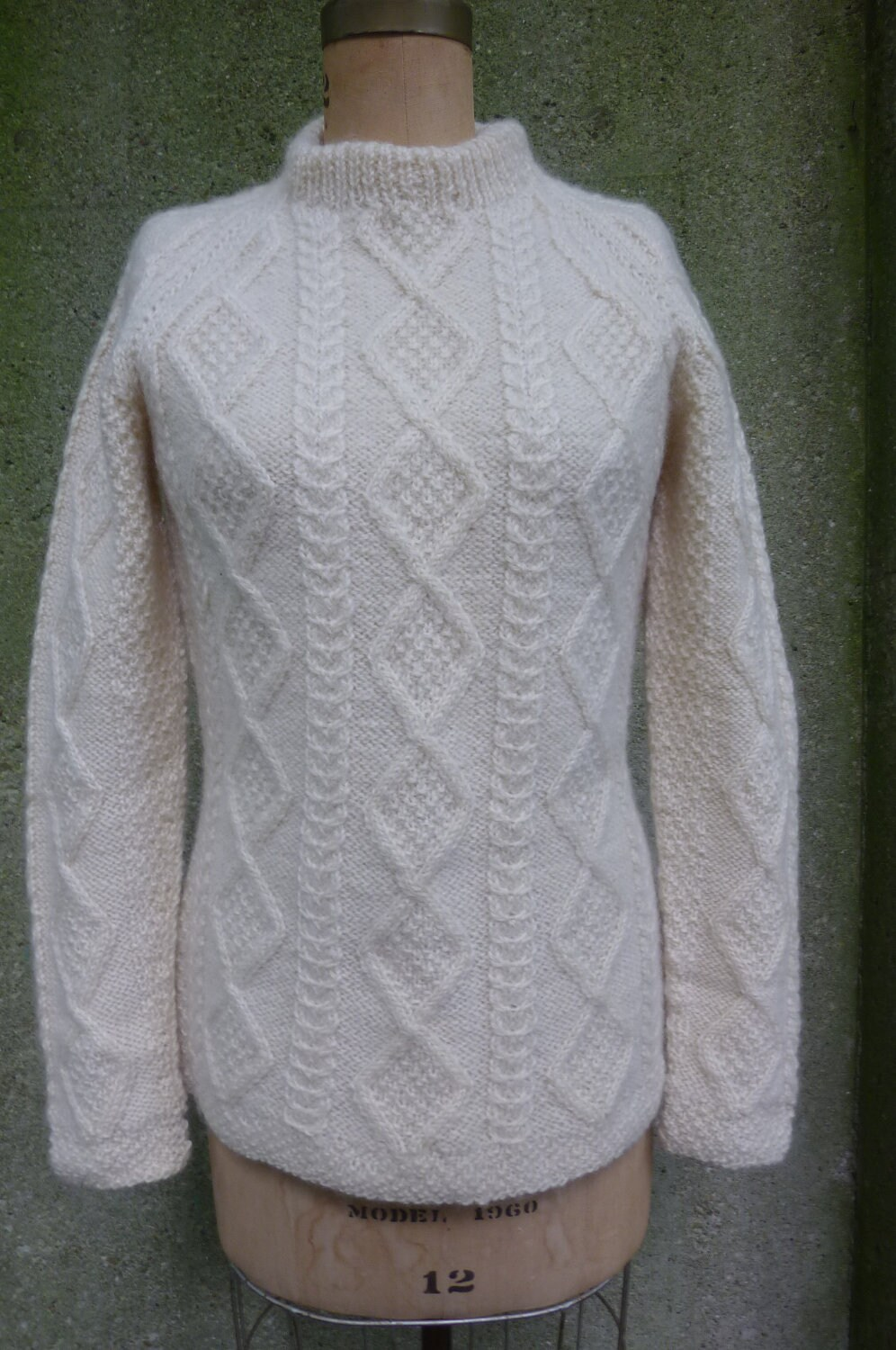 Knitting Patterns Irish Fisherman Sweaters : Aran Irish Fisherman Knit Pullover Sweater Size by ZoomVintage