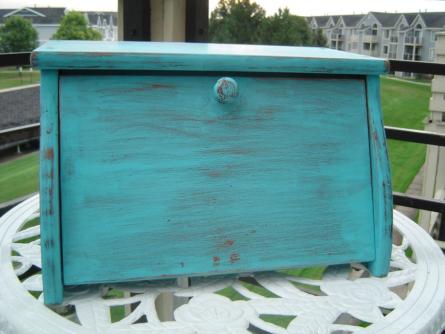 Turquoise Distressed Bread Box
