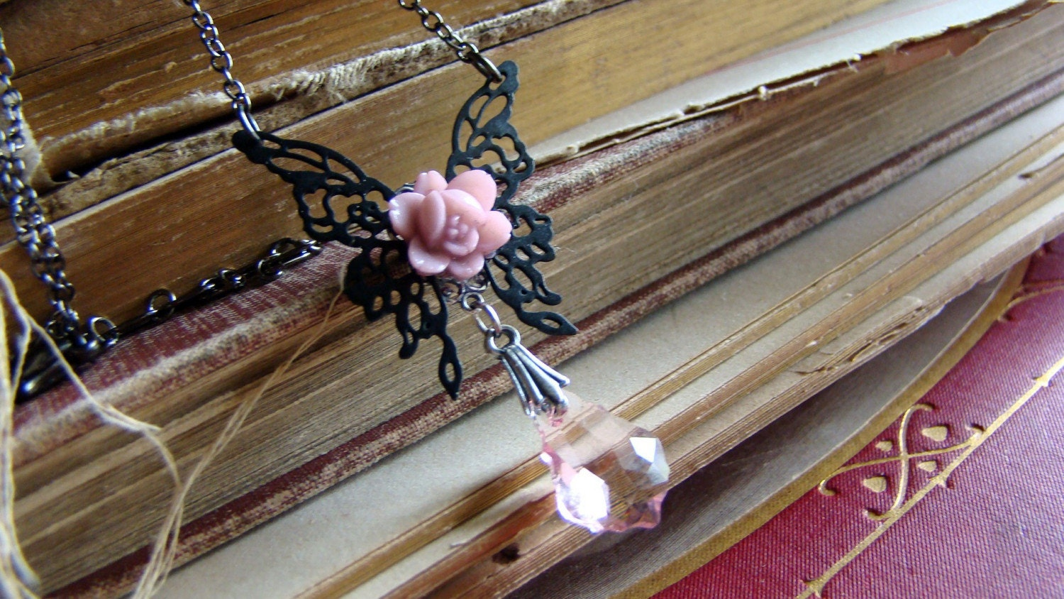 Trixa the Pink Fairy - Filigree Butterlfy Wings, a Pink Colored Flower and Jewel Necklace