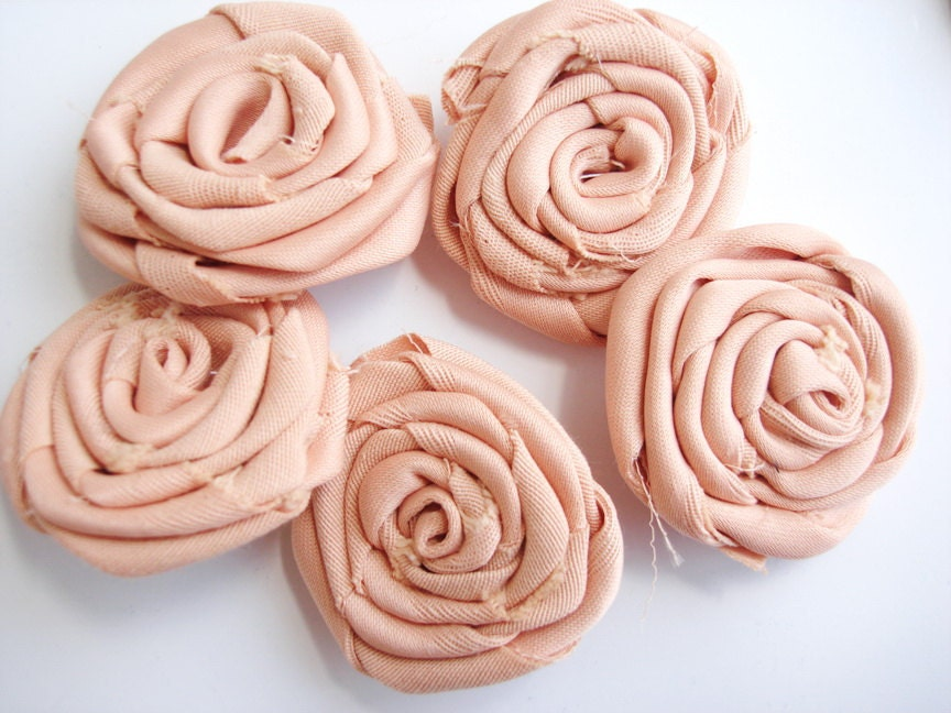 Pastel  Apricot  5 Frayed Shabby Chic Rolled Fabric Roses Handmade Fabric Flowers