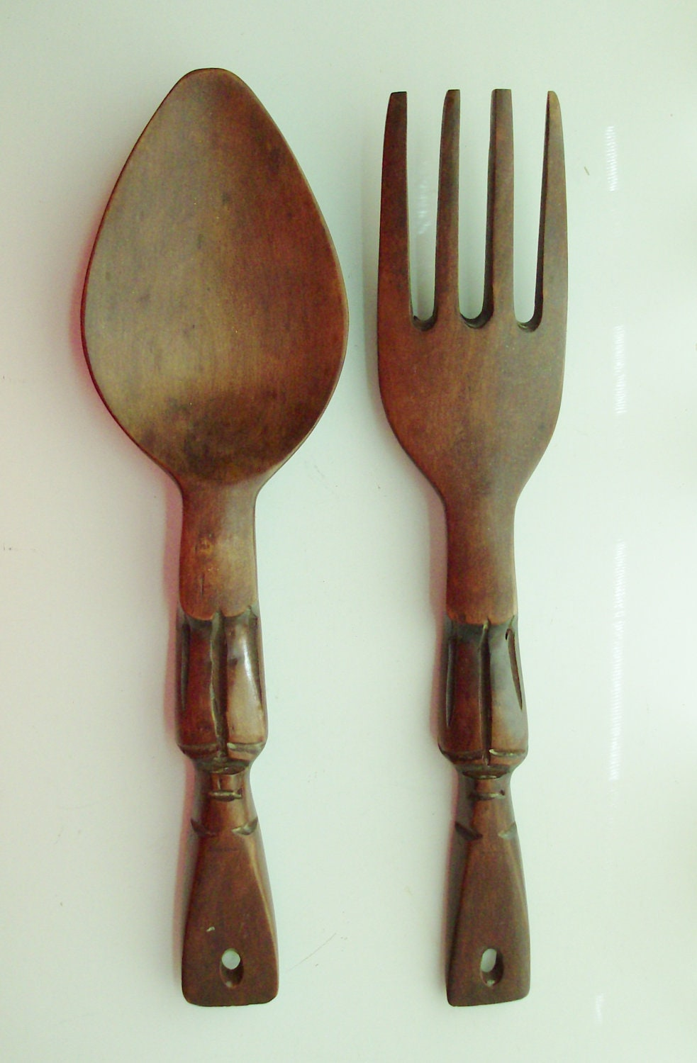 Small Tiki Wooden Fork And Spoon Wall Decor By Fromlosttofound