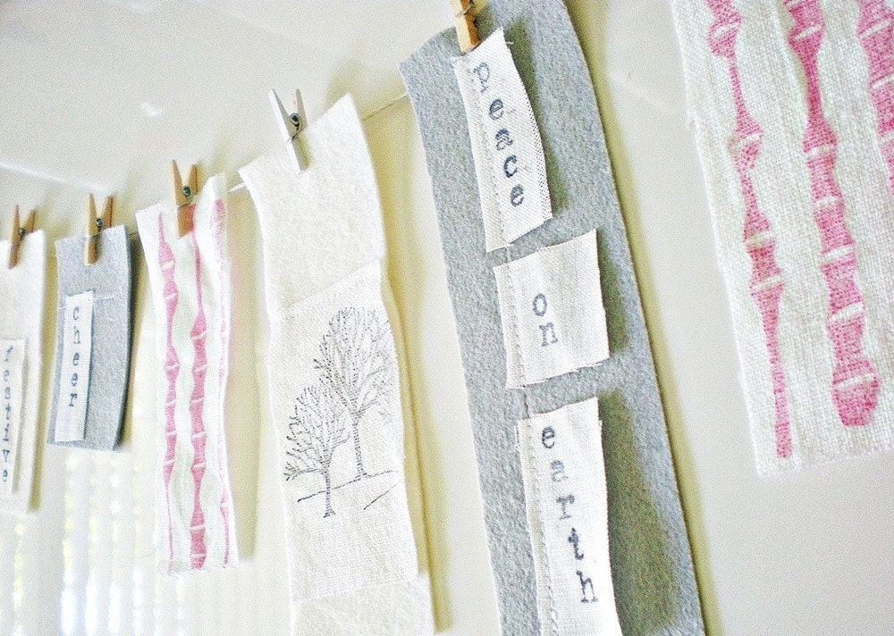 Holiday Garland/Banner in Felt, Ink and Linen-For the Modern Homespun Holiday-by indobay inc