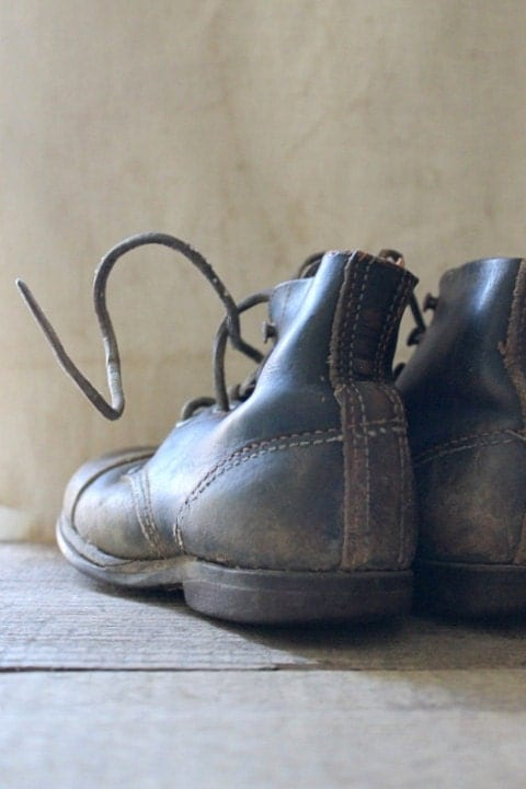 v i n t a g e  childrens leather boots-display/ photo prop only - Harmonicajane