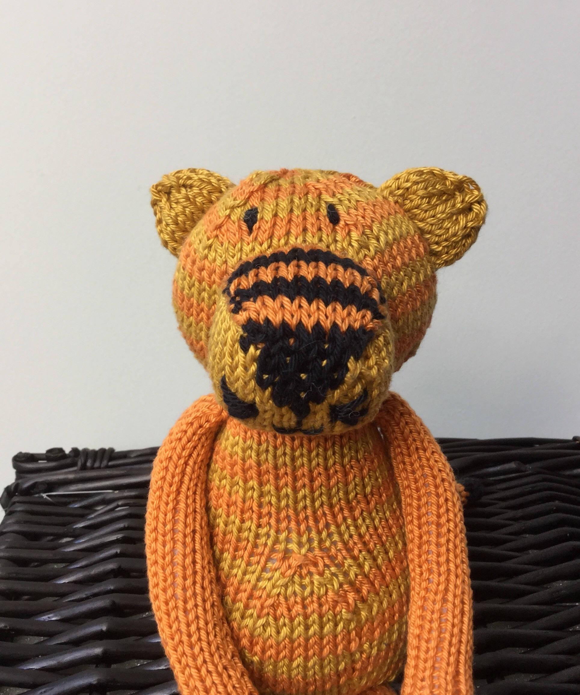 Hand knitted Tiger  Handmade Plush stuffed toyHand knitted and Hand EmbroideredSoft Knitted Novelty Toy Nursery Gift CUSTOM MADE