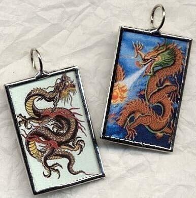 DRAGONS SQUARED Art Glass Pendant