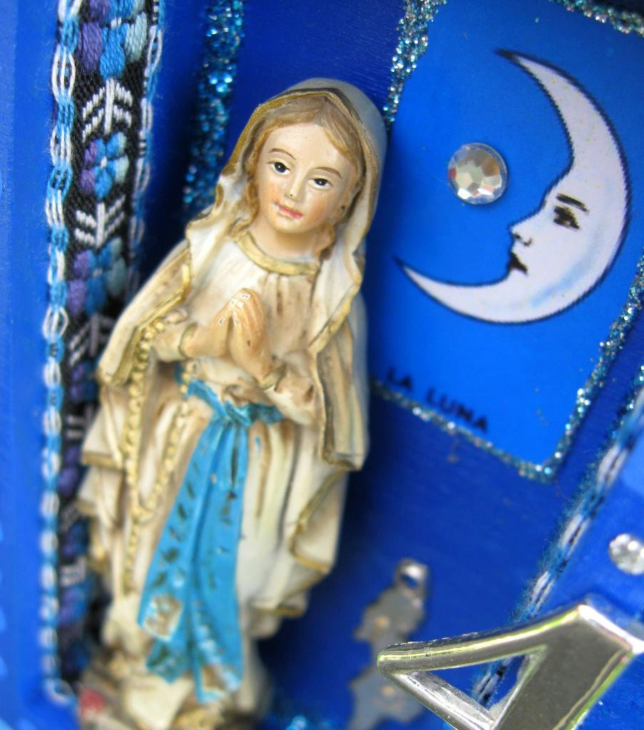 Assemblage Art Collage in BLUE with Mary of Lourdes