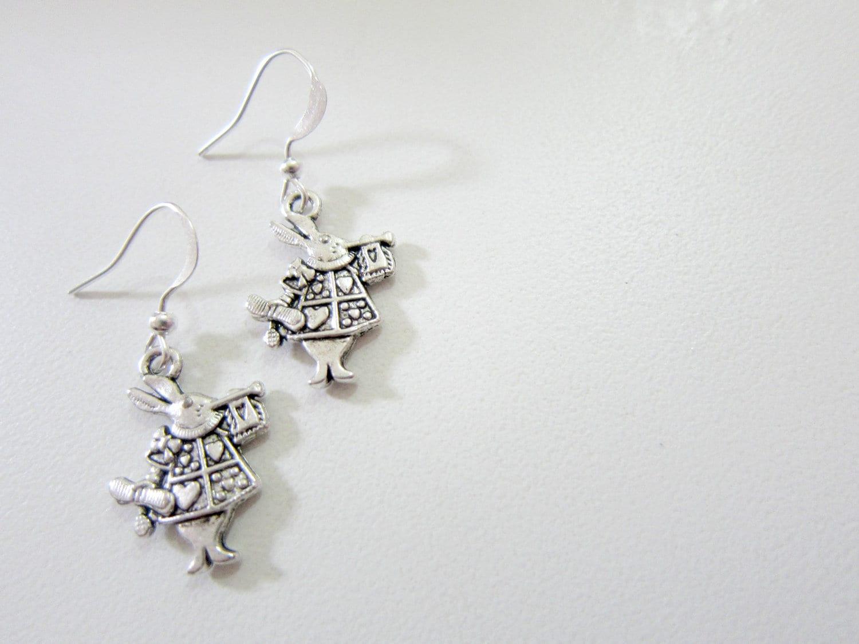 Queen of Hearts Rabbit Silver Plated Earrings. Alice in Wonderland