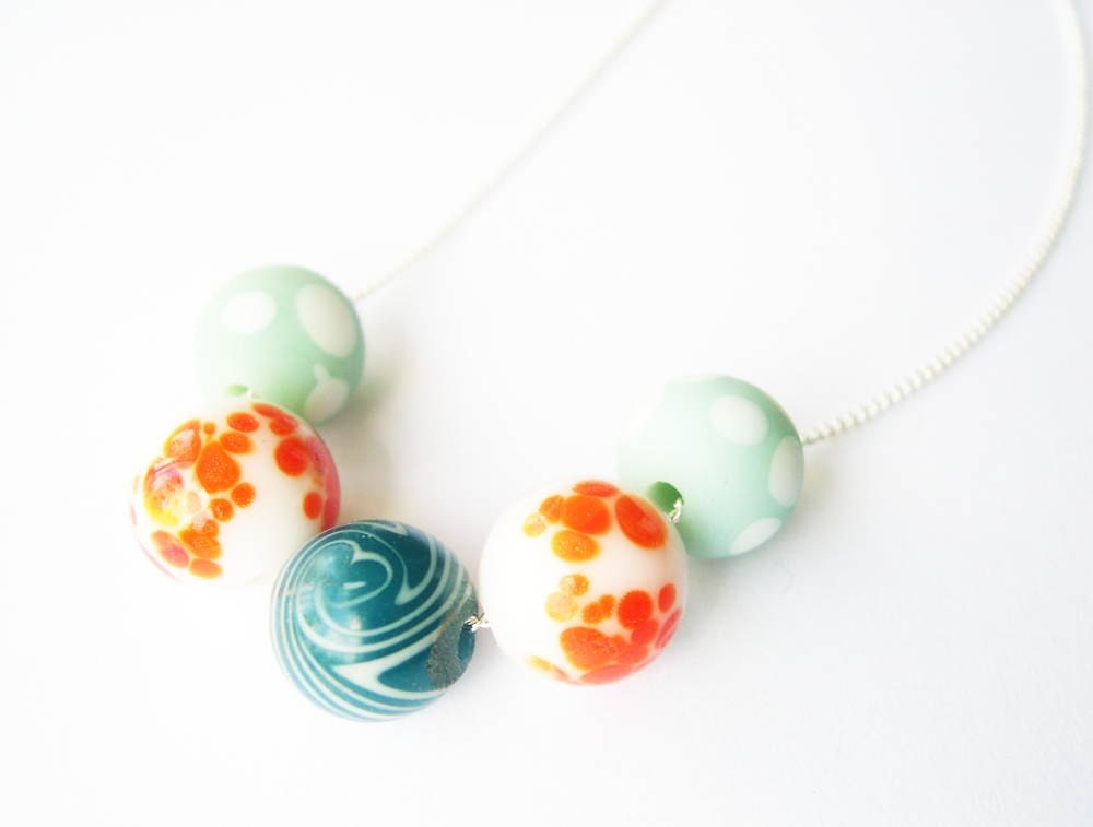 Beaded Jewelry, Orange and Blue Necklace, Aqua, Teal, Summer, Lampwork Beads, Matte Glass, Plated Metal or Nickel Free Sterling Silver - SYMBOLICinteraction