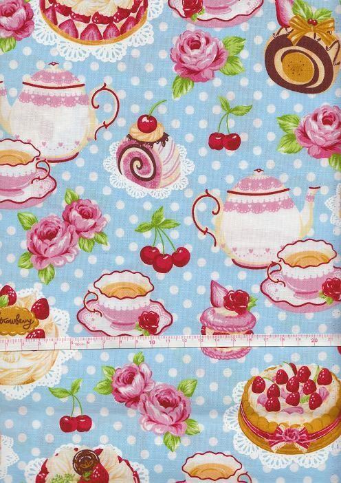 TEA PARTY PRINT BLUE Japanese Fabric Half Yard