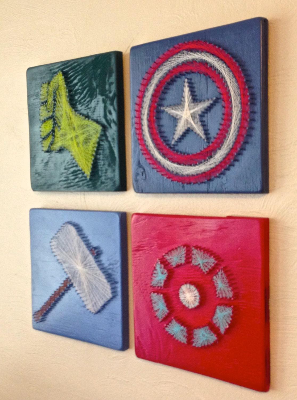 Items Similar To Avengers String Art Wall Hangings Set