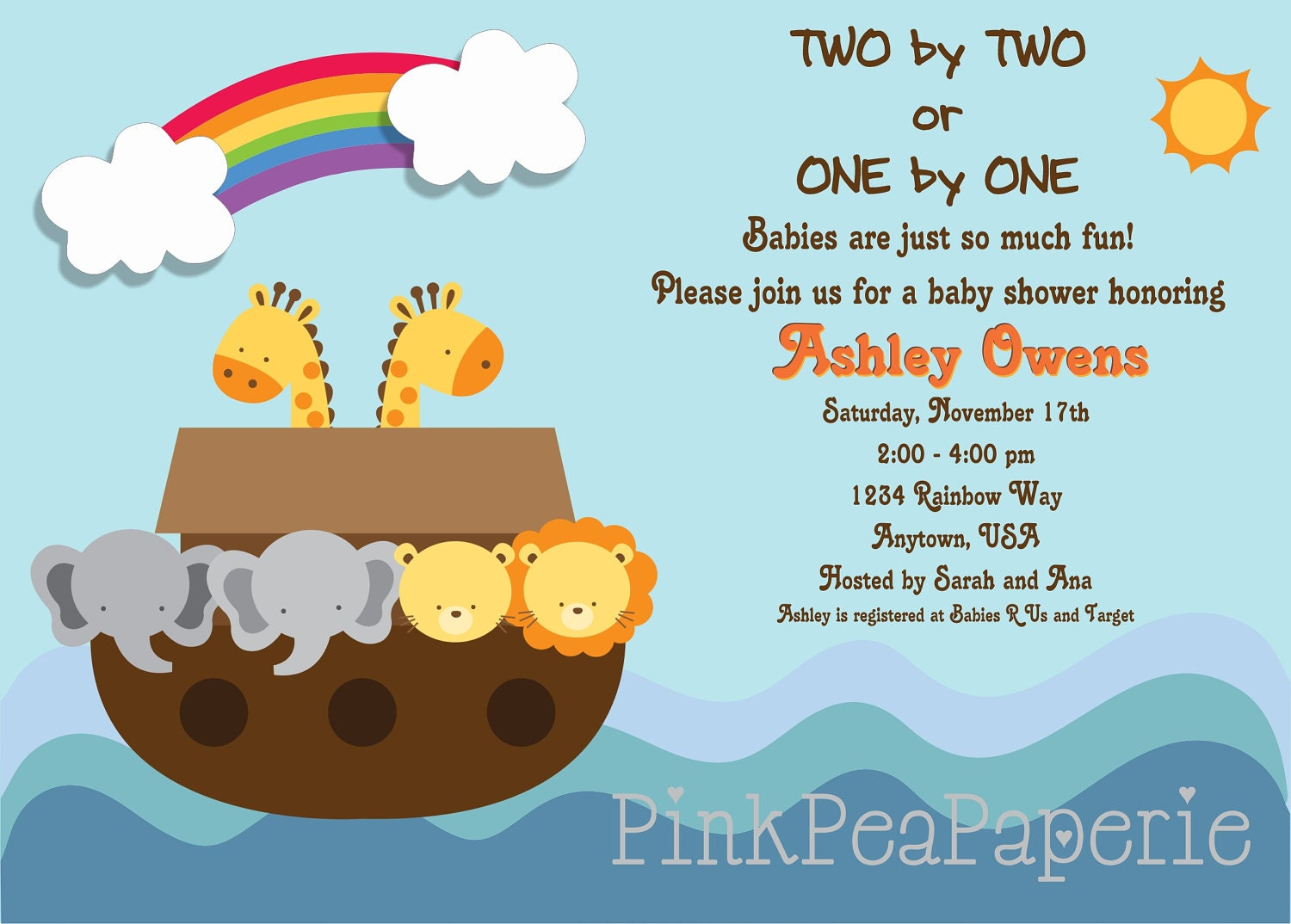 noah 39 s ark baby shower invitation digital by pinkpeapaperie