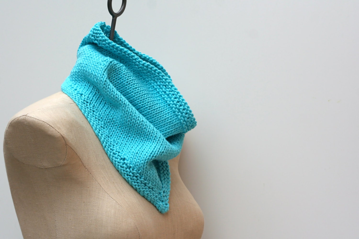Made to Order: Hand Knitted Bandana Cowl Infinity Scarf in Brilliant Aqua Blue Cotton Blend Yarn - AmyLaRoux