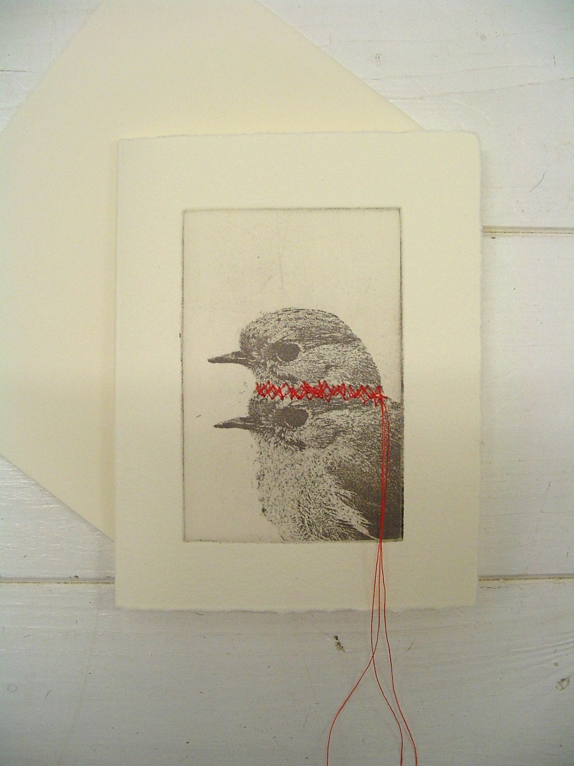 Small original 2headed bird etching