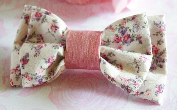 Double Sweetness Bow - Pink Flower Clip