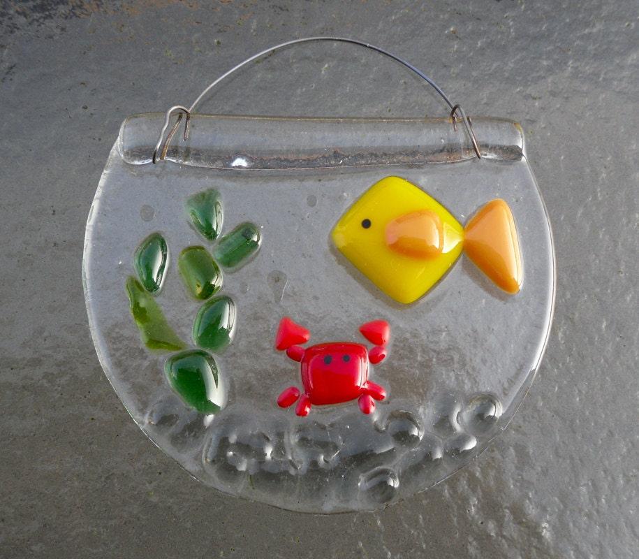Items similar to fused glass mini fish bowl suncatcher on etsy for Mini fish bowls