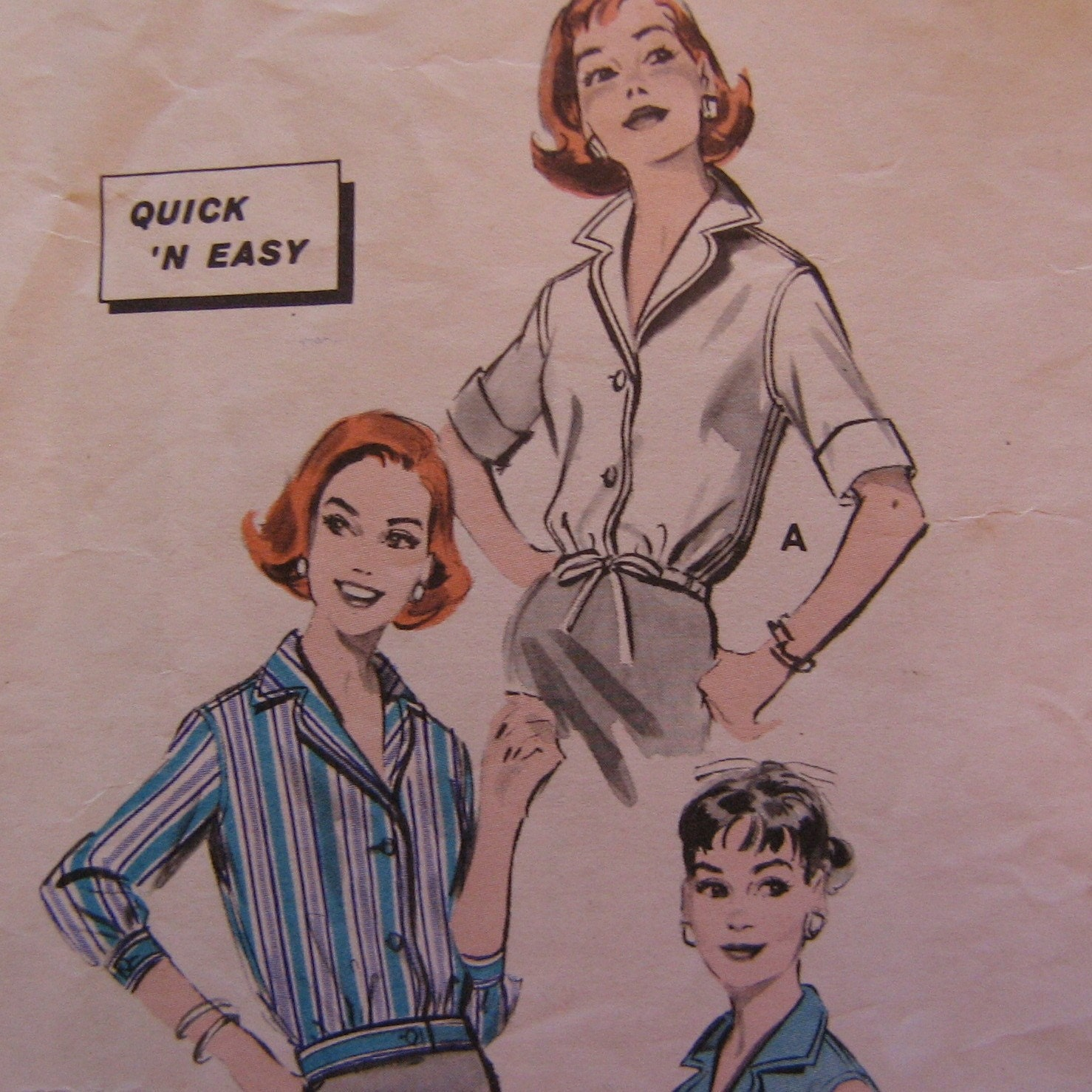 Etsy :: Empresspatterns :: EASY 1950s Blouson Blouse Pattern, Butterick 8583, Bust 36 from etsy.com
