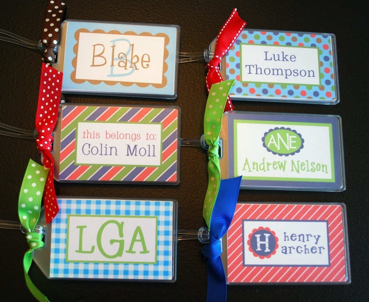 Boy Personalized Name / Monogram Bag Tag - Luggage, Backpack, Book Bag, Diaper Bag, etc - Design your own