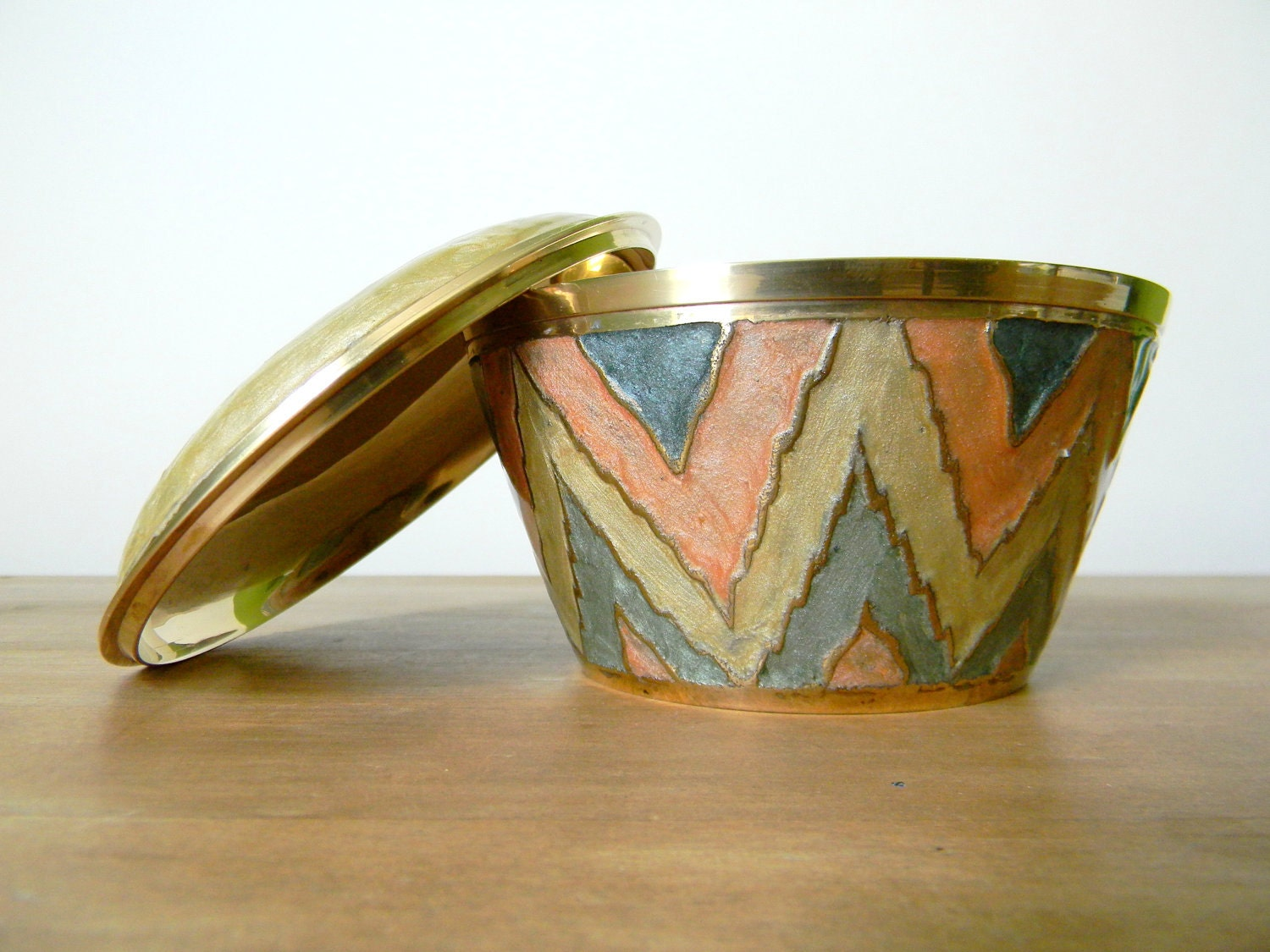 Vintage brass and enamel lidded bowl