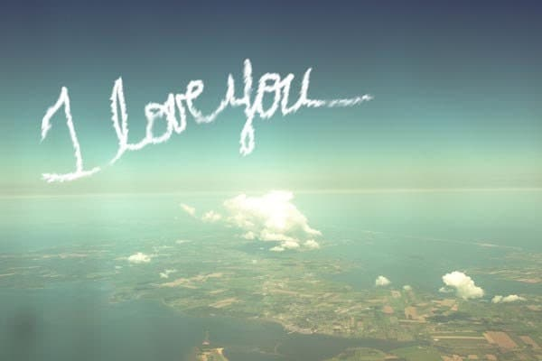 I love you (in skywriting)  -  your personalized new years valentines birthday message of love across a turquoise sky - a customzied photograph - a romantic fine art print (5x7)