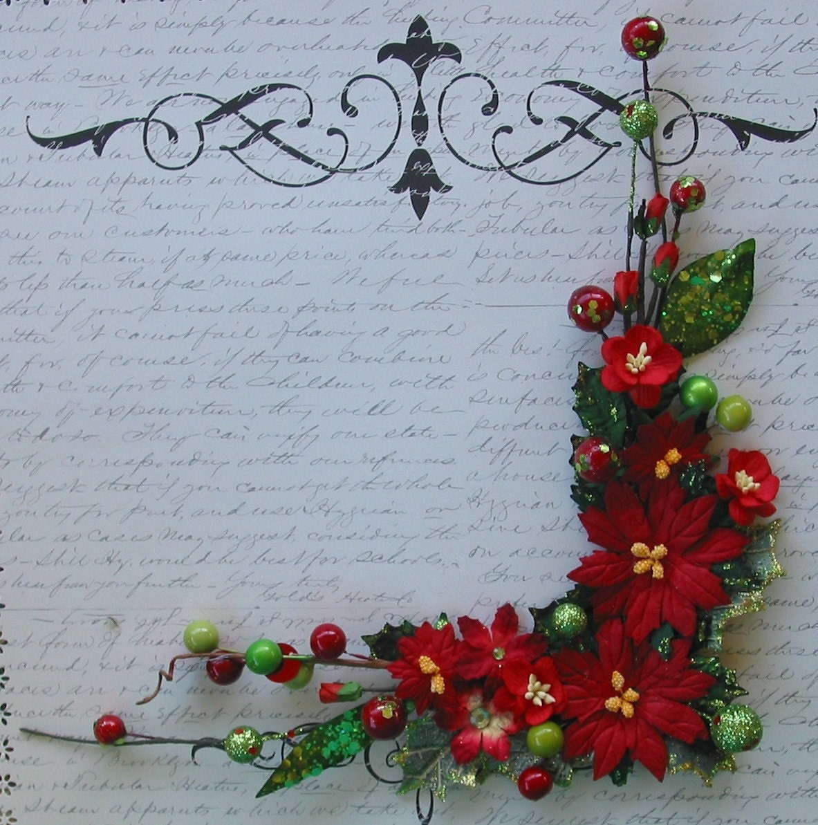 Apple Green and  Red Poinsettias Corner Bouquet for Scrapbooking