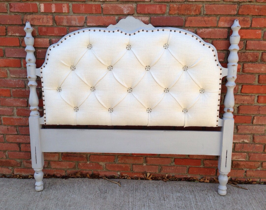 Vintage Upholstered Headboard Tufted Gray Wood Frame Pearl Button