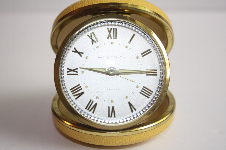Vintage Westclox 7 Jewels Wind Up Travel Alarm By