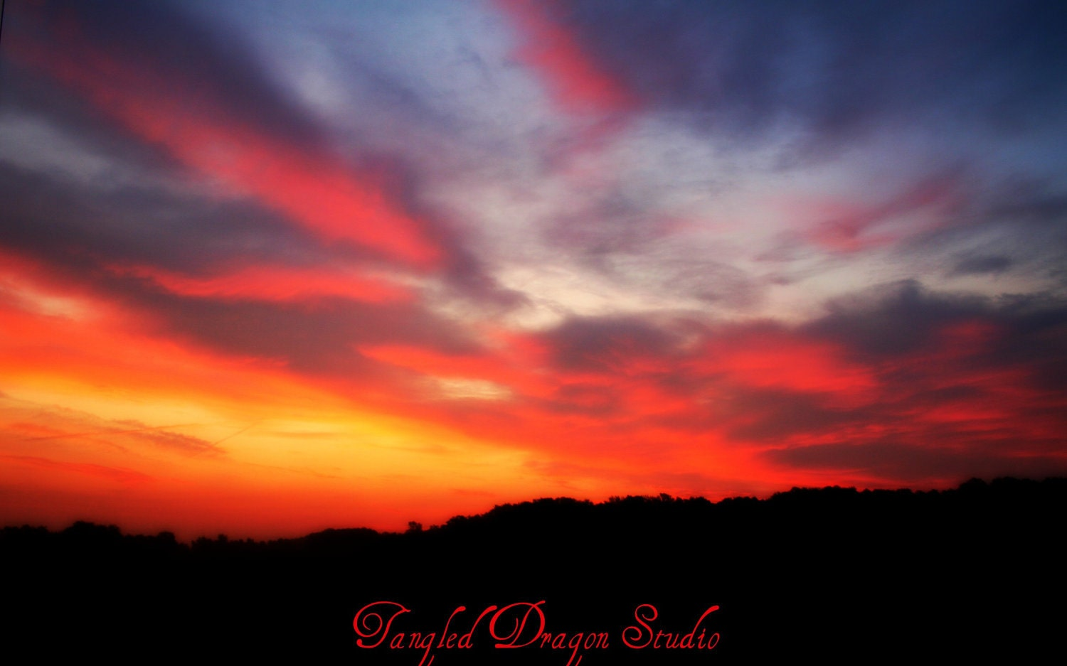 Smokey Mountain Summer Sunrise, 8x10 Print, Sunrise, Landscape and Nature Photography, Fine Art, Orange, Pink, Yellow, Red and Blue - TangledDragonStudio