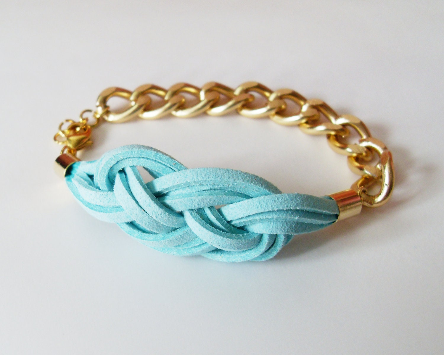 mint knot chain bracelet turquoise suede sailor knot by
