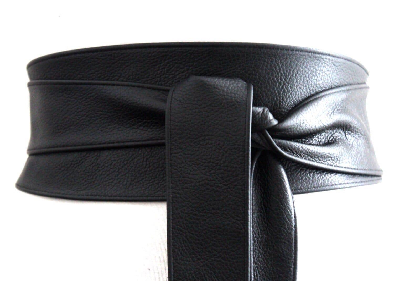 Black Obi Belt Leather Belt Waist Tie belt  Leather Obi Belt Plus Sizes  Black Belt Black Wrap Belt