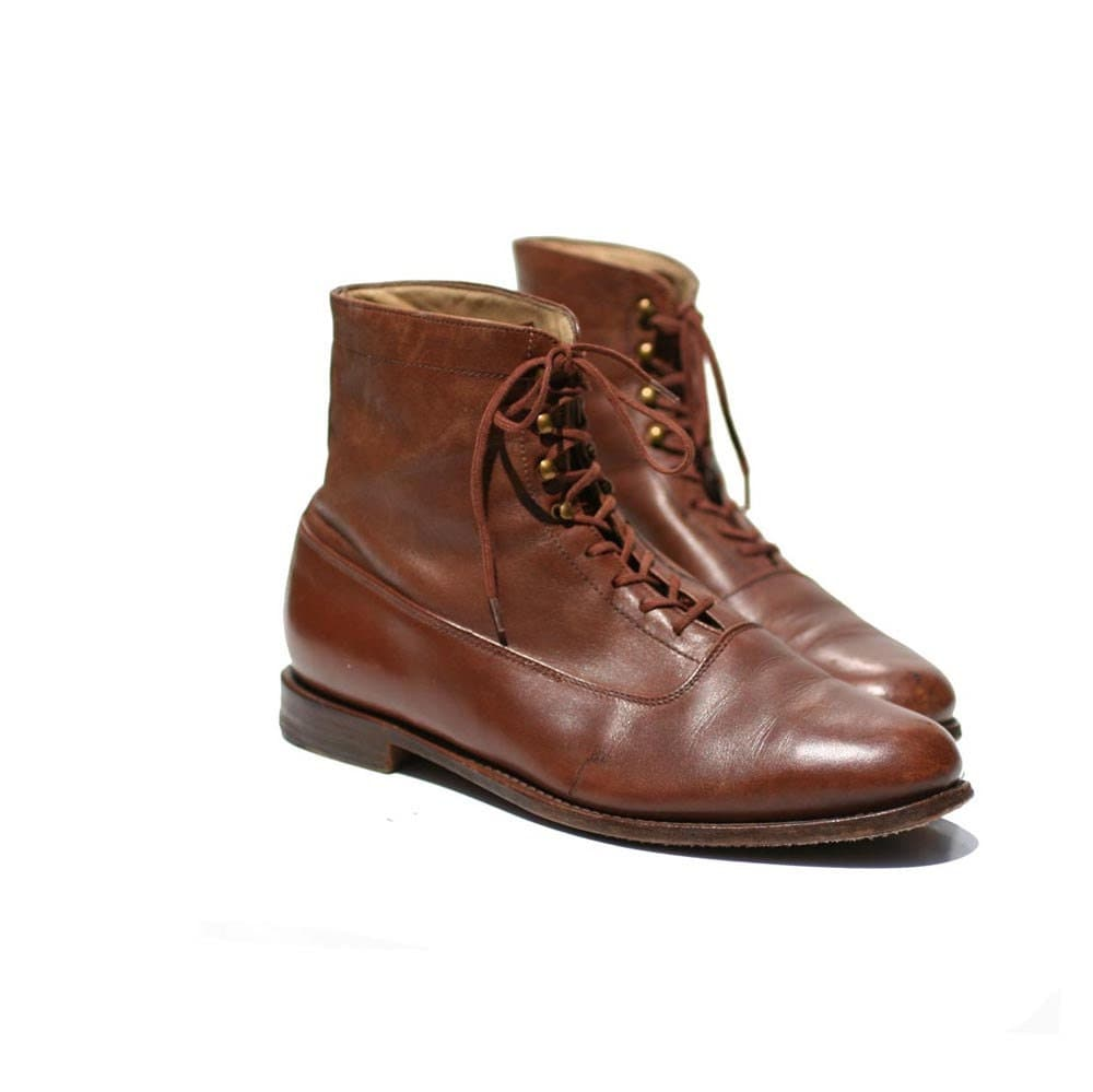mocha brown leather lace up ankle boots size 8 5 by