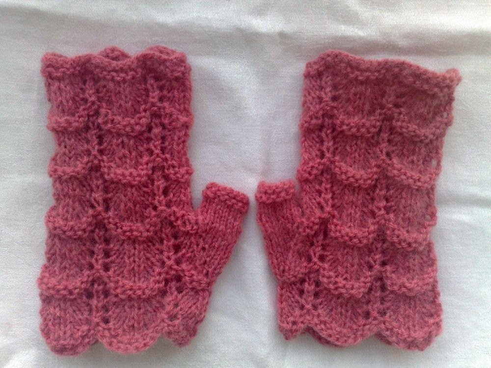 Lace Fingerless Gloves Knitting Pattern : Items similar to Lace Fingerless gloves. Light raspberry color. Women / teen ...