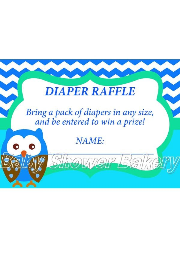 diaper raffle ticket boy owl baby shower game instant download baby
