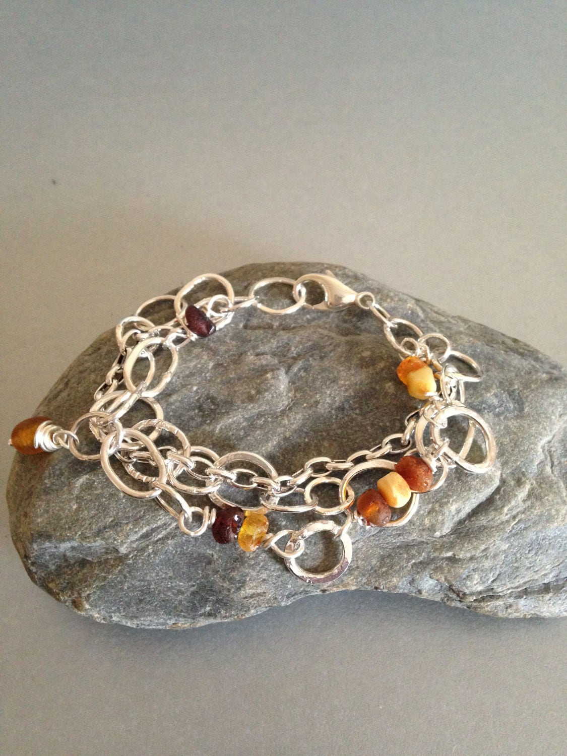 Sterling Silver Link Bracelet with Raw Amber  Multi Strand Silver Bracelet  Amber Bracelet