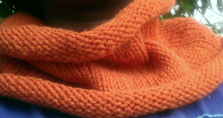 Orange Knit Cowl, Circle Scarf, Infinity Scarf