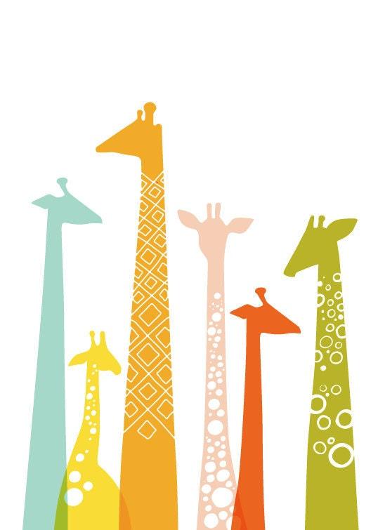 giraffes giclée print. 11X14. rainbow.
