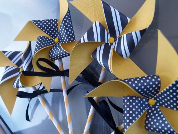 Black and Yellow Stripes and Dots Paper Pinwheels on Yellow Stripe Paper Straws Set of 4