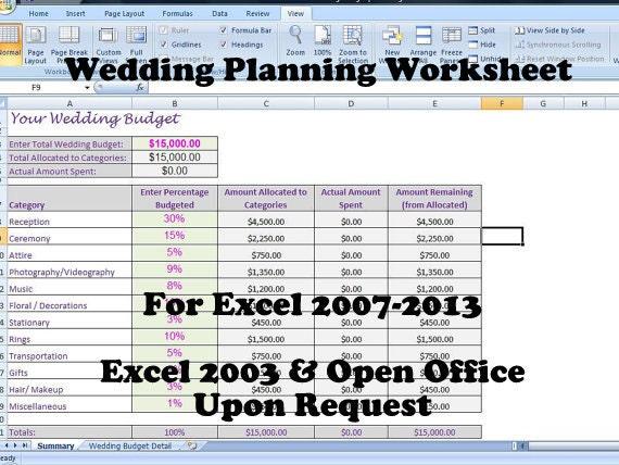 Budget planner worksheet for a wedding