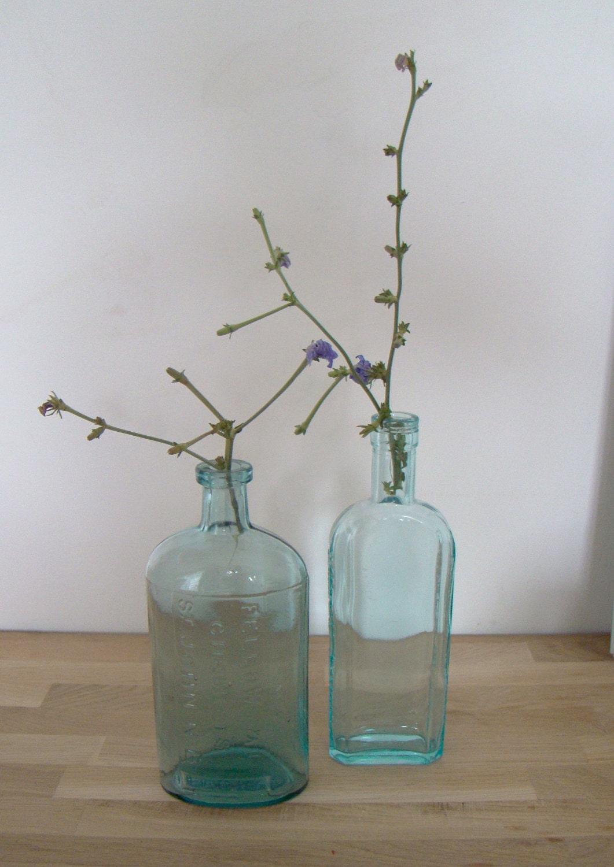 vintage french blue pharmacy / chemist bottle