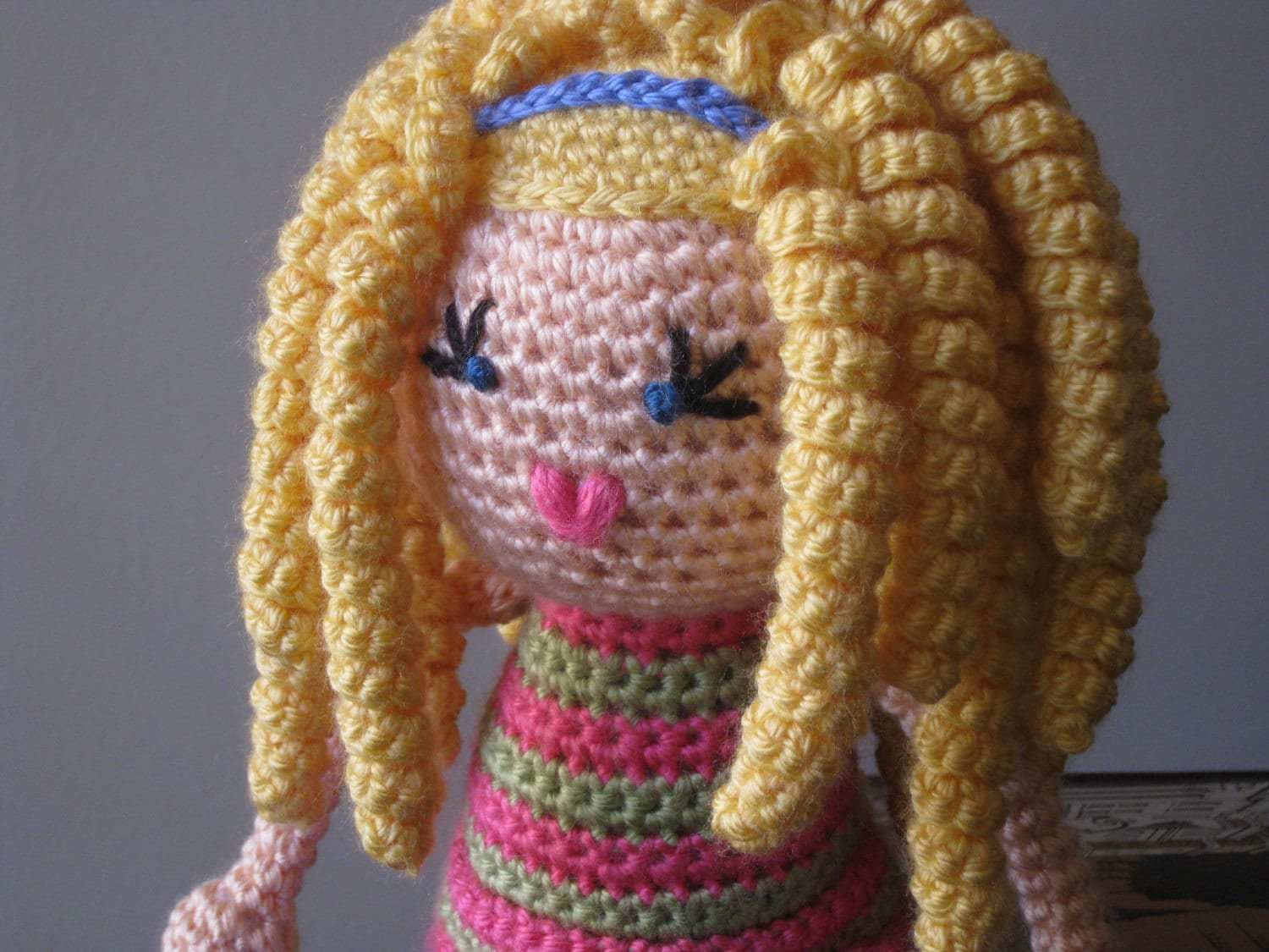 Crochet Hair On Dolls : Crochet Plush Vegan Doll Blonde Curls Curly by LeenGreenBean