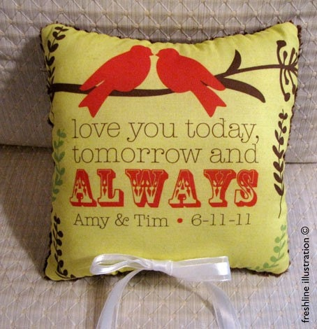 Custom Red Birds on Branches Love You Today, Tomorrow and Always Personalized Wedding Ring Bearer Pillow in Your Wedding Colors