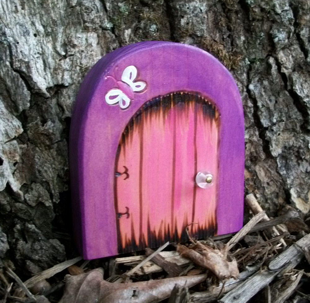 Волшебную дверь 3 1 / 4 дюйма округленной вершиной магический портал Фиолетовый с бабочкой