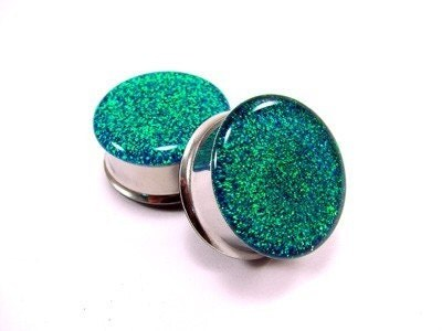Blue to Green Color Changing Glitter Plugs gauges - 00g, 1/2, 9/16, 5/8, 3/4, 7/8, 1 inch