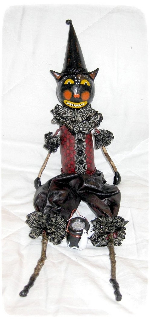 OOAK Doll, Primitive Folk Art Cat Halloween Poetry Doll